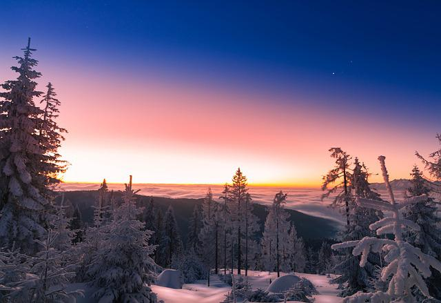 Sunrise, Winter, Snow, Sky, Landscape