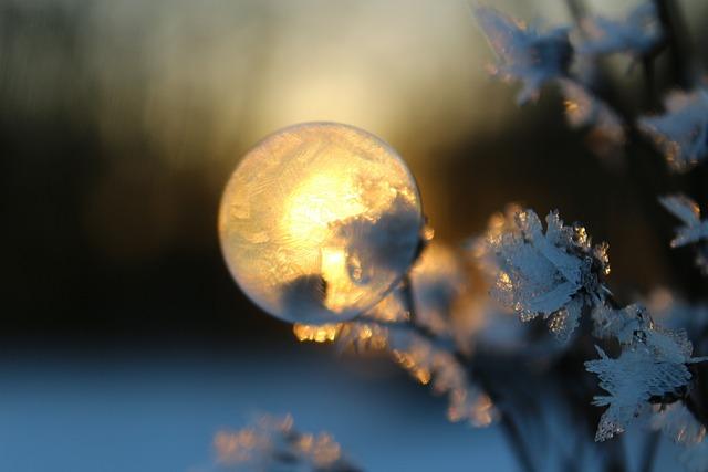 Soap Bubble, Frost Blister, Winter, Eiskristalle