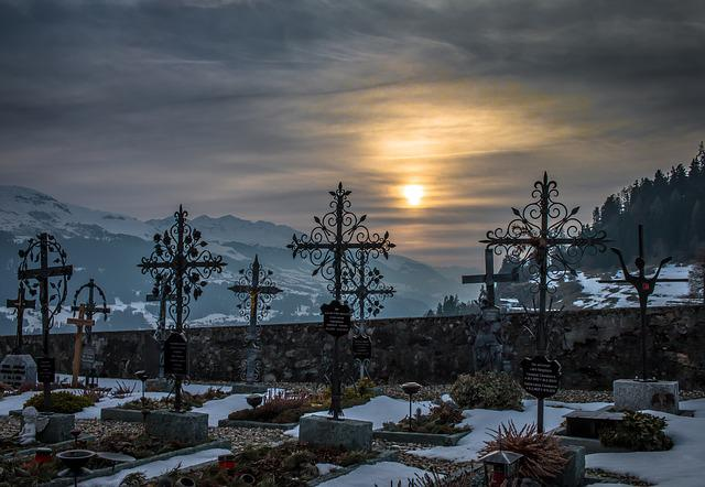 Cemetery, Sunset, Snow, Mountains, Winter, Graveyard