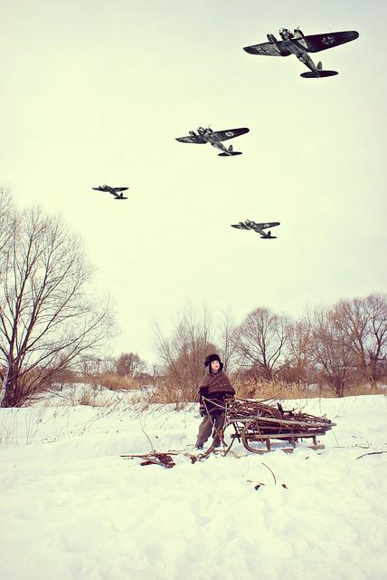 War, Aircraft, The Germans, Village, Winter, History