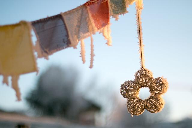 Tibetan Prayer Flags, Winter, Frozen, Morning, Sunrise