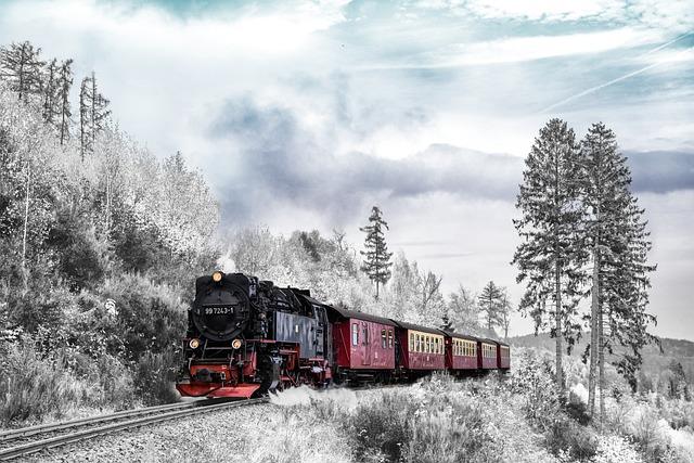 Train, Transportation, Winter, Season, Landscape
