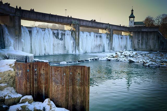 Waters, River, Travel, Winter, Dam, Lock, Frozen