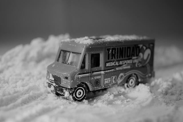 Vehicle, Transport, Winter, Outdoors, Monochrome