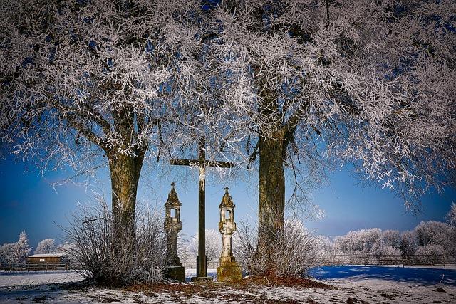 Winter, Cold, Cross, Memorial, Wintry, Frost, Landscape