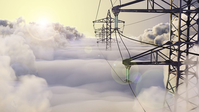 Lap, Clouds, High-voltage Line, Wire, Electricity