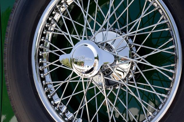 Car, Automobile, Wire Wheel, Tyre, Tire, Chrome, Shiny