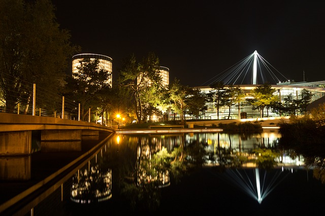 Night Photograph, Night, Water, Car Town, Wolfsburg