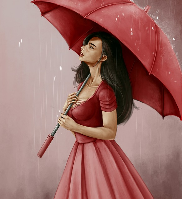 Woman, Lid, Umbrella, Portrait, Adult