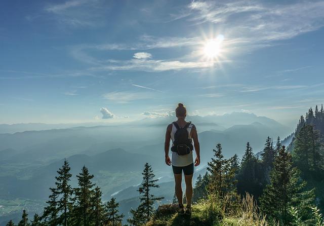 Hiker, Standing, Woman, Top, Journey, Adventure