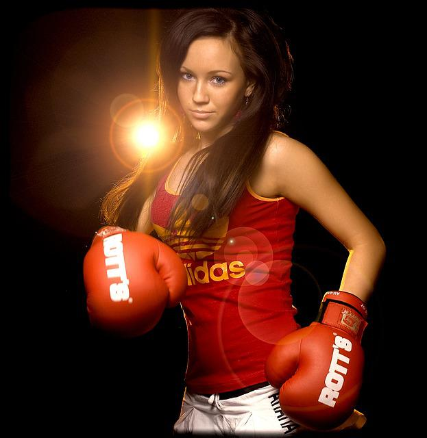 Glove, Boxer, Blow, Warrior, Sports, Young, Woman
