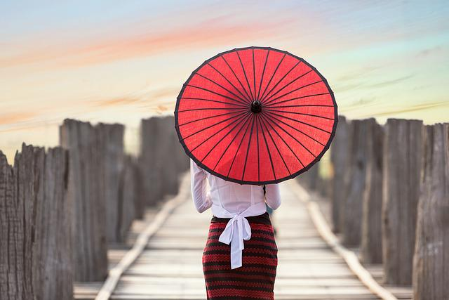 Umbrella, Asia, Myanmar, Burma, Bridge, Woman, Girl