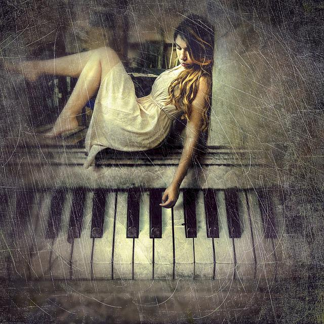 Cd Cover, Woman, Piano, Composing, Photomontage