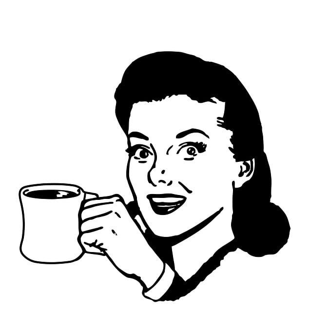 Woman, Coffee, Mug, Coffee Mug, Holding, Vintage, Retro