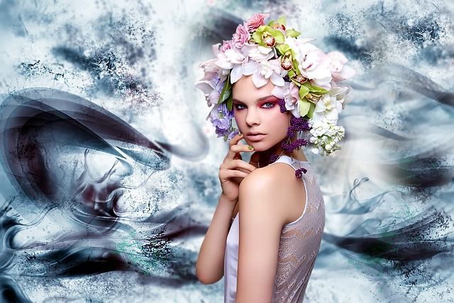 Digital Creation, Woman, Creation, Imaginary, Blue