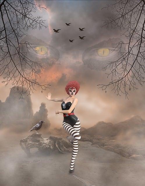 Landscape, Fantasy, Clown, Woman, Branches, Dancing