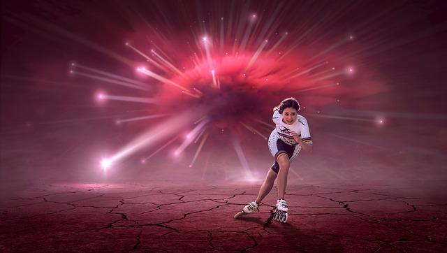 Fantasy, Explosion, Composing, Woman, Female Athlete