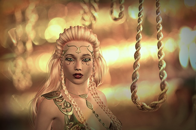 Rope, Woman, Gold, Golden, Fantasy