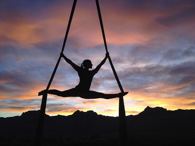 Silhouette, Aerialist, Female, Woman, Gymnast, People