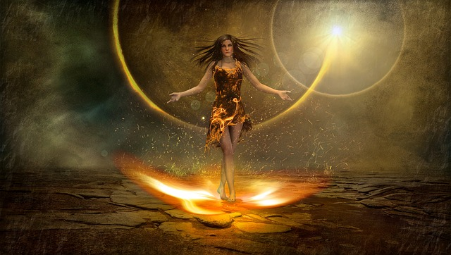 Fantasy, Fire, Figure, Atmosphere, Woman, Magic