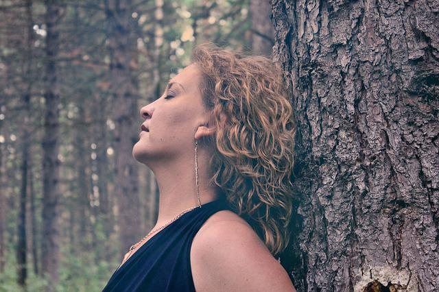 Woman, Forest, Trees, Sorrow