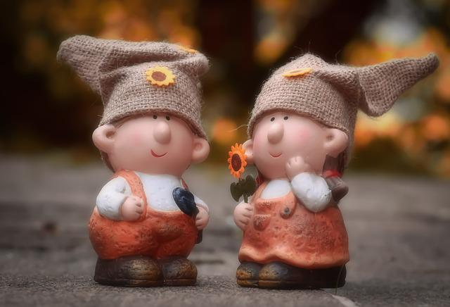 Imp, Pair, Cute, Garden, Funny, Fun, Figure, Woman, Man