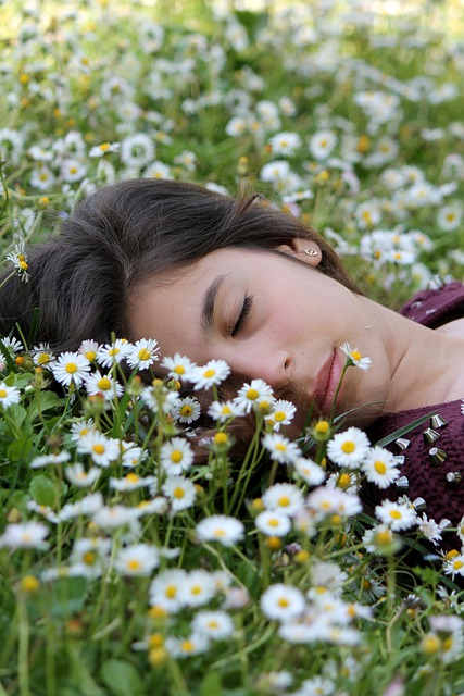 Sleep, Rest, Face, Girl, Woman, Prato, Flowers, Daisies