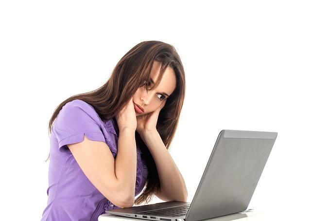 Girl, Computer, Work, Fatigue, Office, Woman