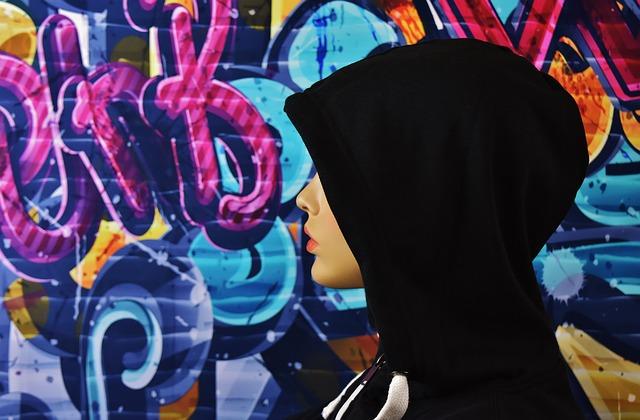 Woman, Hood, Mysterious, Graffiti, Street Art