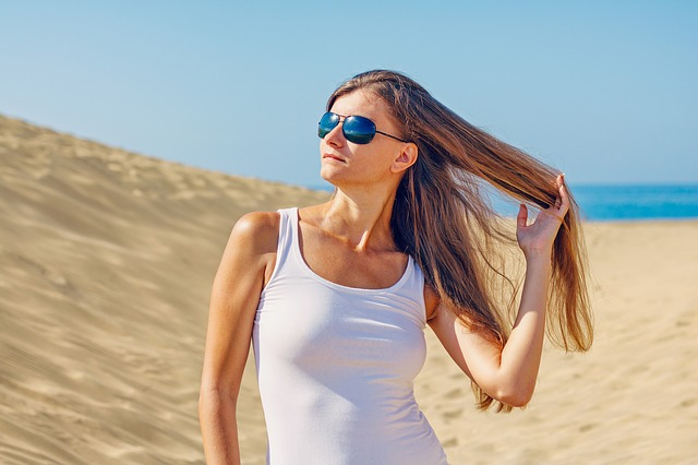 Woman, Young Woman, Sunglasses, Long Hair, Holiday