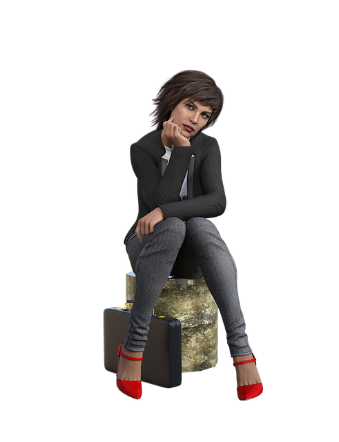 Woman, Business, Wait, Thinking, Jeans, Luggage, Pose