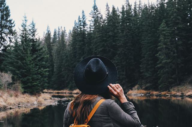 Female, Forest, Girl, Hat, Lake, River, Trees, Woman