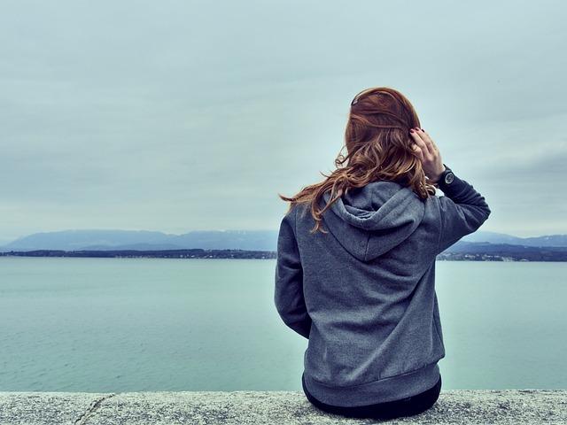 Girl, Woman, Looking, Brunette, Long Hair, Hoodie, Lake