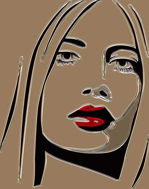 Woman, Metallizer, Head, Face, Portrait, Profile