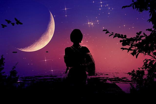Woman Silhouette, Night, Woman, Moon, Moonlight