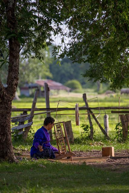 Weaving, Woman, North East, Thailand, Countryside