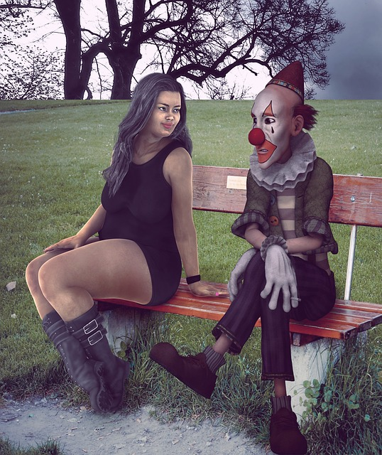 Woman, Clown, Bench, Park, Costume, Makeup
