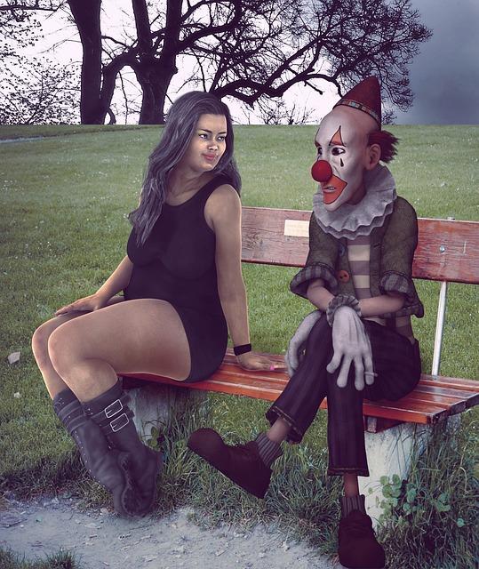 Woman, Clown, Bench, Park, Costume, Makeup
