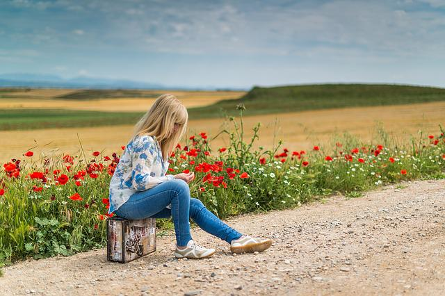 Suitcase, Woman, Girl, Waiting, Journey, Person