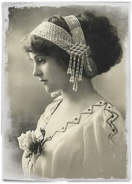 Vintage, Woman, Art, Collage, Hair, Pearls, Photo