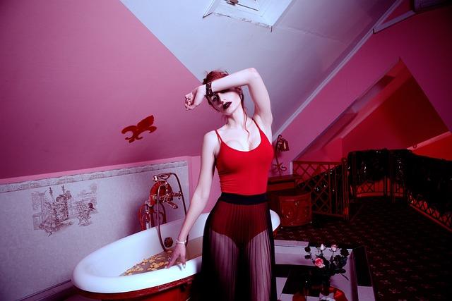Girl, Red, Bathroom, Retro, Model, Woman, Posture