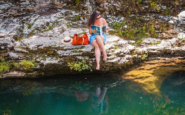 Woman Reading, River, Lake, Elle, Fashion