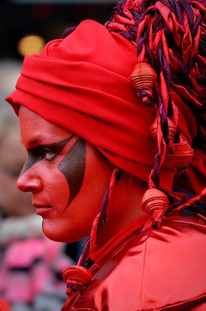 Woman, Carnival, Decoration, Face Paint, Red, Dress Up