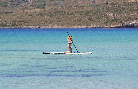 Stand Up Paddle Board, Water Sports, Woman, Paddle