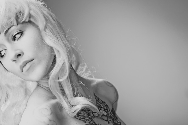 Woman, Girl, Black And White, Tattoo, Wig, Young