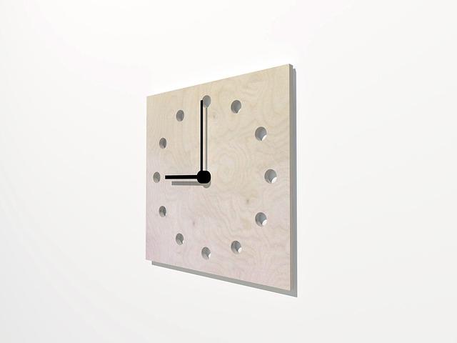 Wall, Clock, Wood, 3d