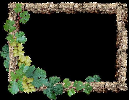 Frame, Border, Rustic, Wood, Grapes