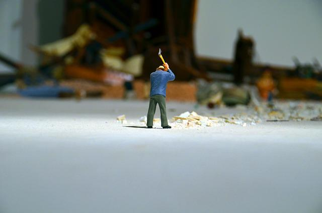 Wood Chop, Axe, Ax, Art, Art Installation, Miniature