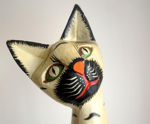 Cat, Sculpture, The Head Of The, Ears, Wood, Decoration