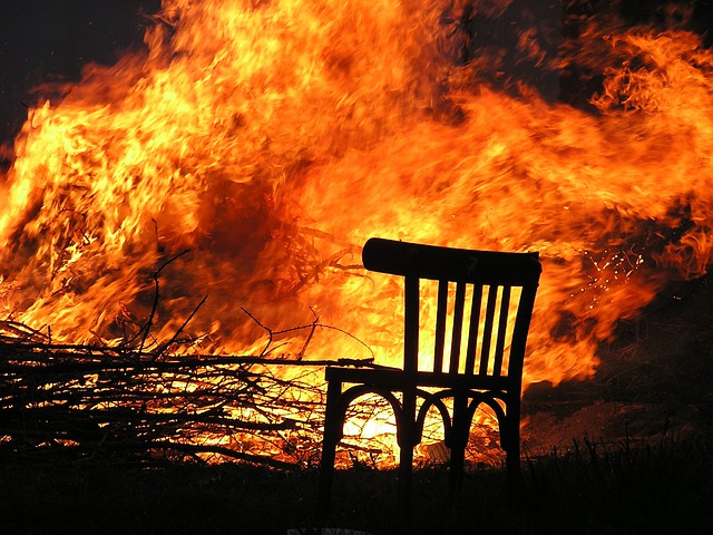 Fire, Flame, Burn, Chair, Wood Fire